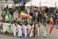 Arbegnoch Qen - Patriots' Day. Addis Ababa - May 5: Young children dressed in colourful traditional outfit perform in front of the Ethiopian President at the Stock Photography