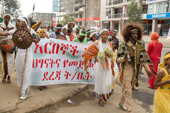 Arbegnoch Qen - Patriots' Day. Addis Ababa - May 5: Young men and women dressed in colourful traditional outfit march on the streets of Addis Ababa during the Stock Photo