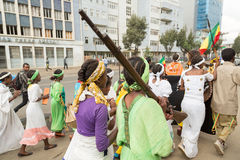 Arbegnoch Qen - Patriots' Day. Addis Ababa - May 5: Young men and women dressed in colourful traditional outfit march on the streets of Addis Ababa during the Stock Images