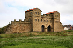 Arbeia Roman Fort. The reconstructed Roman Fort Gatehouse at South Shields (Arbeia) Tyne & Wear, Northeast England Royalty Free Stock Image