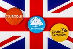 Arbeid, Conservatieven en Liberale Democraten stock afbeelding