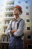 Arbeider bij een bouwwerf stock afbeeldingen