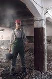 Arbeider bij een bouwwerf stock fotografie