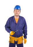 Arbeider in blauwe beschermende helm stock afbeelding