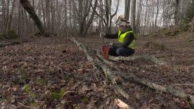 Arbeider die kettingzaag dichtbij gevallen boom in park controleren stock video