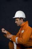 Arbeider die klaar wordt Stock Foto