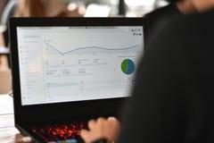 Arbeider die verkeersbezoeker controleren op het rapport van websiteanalytics stock afbeelding