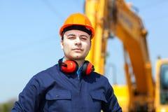 Arbeider in een bouwwerf Stock Foto