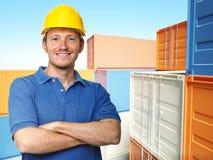 Arbeider en 3d containerachtergrond Stock Foto