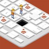 Arbeider en in aanbouw op computertoetsenbord Royalty-vrije Stock Afbeeldingen