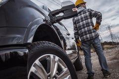 Arbeider en de Bestelwagen royalty-vrije stock foto's