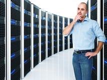 Arbeider en server stock afbeeldingen