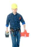 Arbeider en toolboxes Stock Afbeeldingen