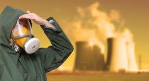 Arbeider in gasmasker. Stock Fotografie