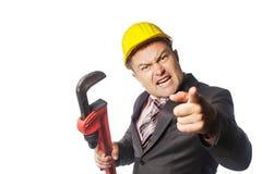 Arbeider in gele helm Royalty-vrije Stock Afbeeldingen