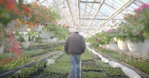 Arbeider het water geven bloemen in 4K stock video