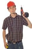Arbeider met boor Stock Foto
