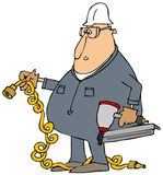 Arbeider met een luchtspijkermaker royalty-vrije illustratie