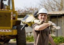 Arbeider met jackhammer Stock Foto