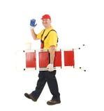 Arbeider met ladder royalty-vrije stock fotografie