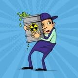 Arbeider met radioactief stof royalty-vrije illustratie