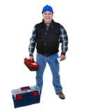 Arbeider met toolbox Stock Foto's
