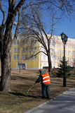 Arbeider in Moskou het Kremlin De Plaats van de Erfenis van de Wereld van Unesco Royalty-vrije Stock Fotografie