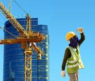 Arbeider op bouwwerf Stock Foto