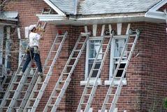 Arbeider op een ladder Stock Foto's
