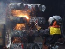 Arbeider op een scheepswerf Stock Foto's