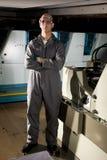 Arbeider in printshop Stock Foto's