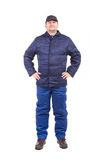 Arbeider in workwear de winter Stock Afbeeldingen