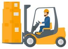 Arbeiders bewegende lading door vorkheftruck stock illustratie