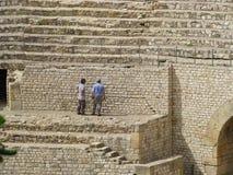 Arbeiders in Colosseum stock afbeelding