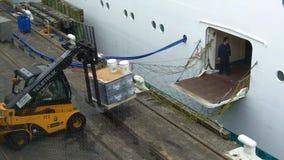 Arbeiders die lading laden in het schip van de passagiersvoering stock videobeelden