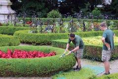 Arbeiders die voor de tuin in Cardiff geven stock afbeelding