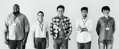 Arbeiders die zich diversiteitseffect verenigen royalty-vrije stock fotografie