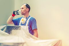 Arbeiders Drinkwater stock afbeeldingen