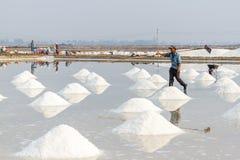 Arbeiders en stapels van zout bij de zoute gebieden van Hon Khoi in Nha Tra Royalty-vrije Stock Afbeeldingen