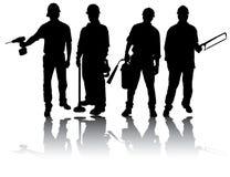 Arbeiders met hulpmiddelen royalty-vrije illustratie