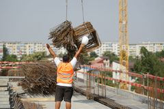 Arbeiders op een bouwwerf Stock Foto