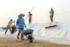 Arbeiders op een zoute hoop bij de zoute gebieden van Hon Khoi in Nha Trang Stock Foto