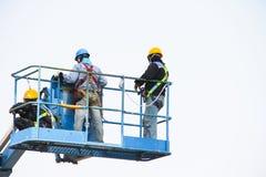 Arbeiders op liften Royalty-vrije Stock Foto's