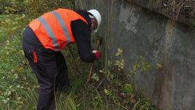 Arbeiders schoon concreet ontwerp van struiken stock video