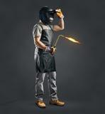 Arbeiderslasser met de machine van het gaslassen Stock Foto