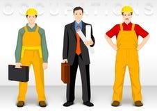 Arbeidersocupation De pictogrammen van het mensenkarakter tonen kleding van bouwers en voorman vector illustratie