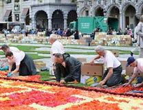 Arbeit über den Blumen-Teppich auf Grand Place Lizenzfreie Stockbilder