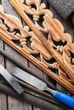 Arbeit über Holz Stockfoto