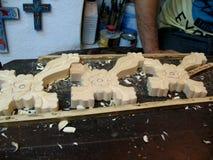 Arbeit im Holz Stockfoto