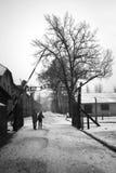 Arbeit Mach Frei (Work liberates) sing at german WWII prisoner camp Aushwitz, Poland Stock Image